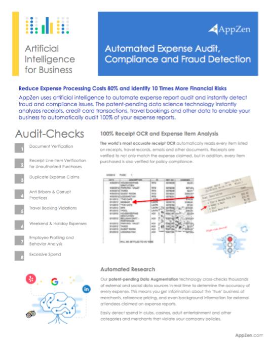 AppZen Expense Audit Data Sheet - August 2016